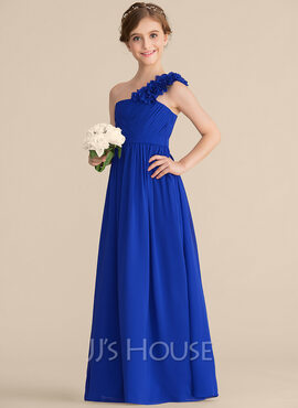 A-Line One-Shoulder Floor-Length Chiffon Junior Bridesmaid Dress With Ruffle Flower(s) (009165017)
