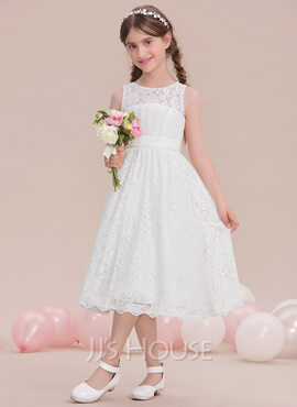 A-Line/Princess Scoop Neck Tea-Length Lace Junior Bridesmaid Dress (009119570)