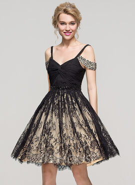 A-Line/Princess Off-the-Shoulder Knee-Length Lace Homecoming Dress With Ruffle Beading Sequins