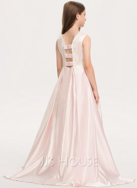 A-Line Scoop Neck Sweep Train Satin Lace Junior Bridesmaid Dress With Bow(s) Pockets (009208600)