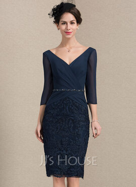Sheath/Column V-neck Knee-Length Chiffon Lace Mother of the Bride Dress With Ruffle Beading Sequins