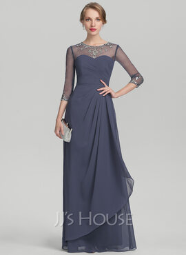 A-Line Scoop Neck Floor-Length Chiffon Mother of the Bride Dress With Beading Sequins Cascading Ruffles (008131933)