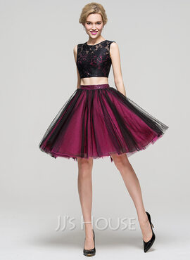 A-Line/Princess Scoop Neck Knee-Length Tulle Homecoming Dress (022089930)