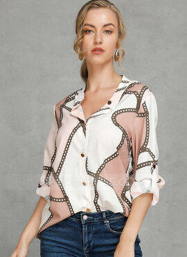 Long Sleeves Polyester V Neck Shirt Blouses Blouses (1003223820)