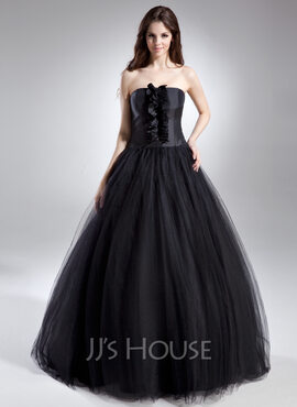 Ball-Gown Strapless Floor-Length Tulle Quinceanera Dress With Ruffle (021015612)
