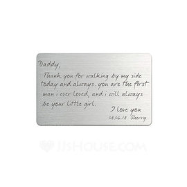 Groom Gifts - Personalized Classic Stainless Steel Wallet Insert Card (257176840)