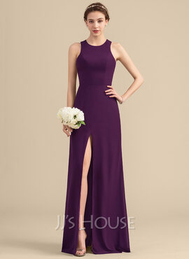 A-Line/Princess Scoop Neck Floor-Length Chiffon Bridesmaid Dress With Split Front (007153312)