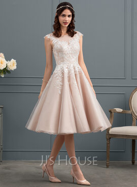 A-Line Illusion Knee-Length Tulle Wedding Dress With Sequins (002153434)