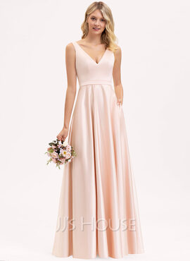 A-Line V-neck Floor-Length Satin Prom Dresses With Pockets (018229926)