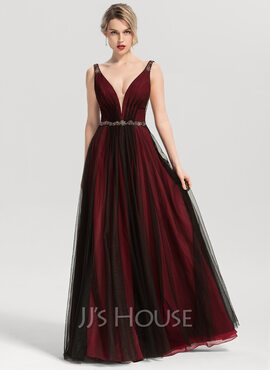 A-Line V-neck Floor-Length Tulle Prom Dresses With Beading (018192885)