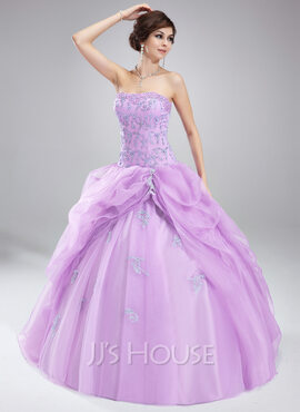 Ball-Gown Sweetheart Floor-Length Organza Quinceanera Dress With Ruffle Beading Appliques Lace (021004660)