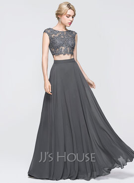 A-Line/Princess Scoop Neck Floor-Length Chiffon Prom Dresses With Beading Sequins (018089725)