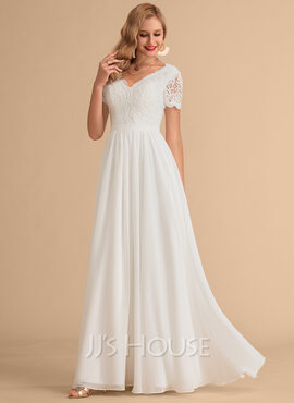 Corte A Escote en V Hasta el suelo Gasa Encaje Vestido de novia (002215652)