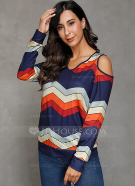 Long Sleeves Cotton Polyester Cold Shoulder Knit Blouses
