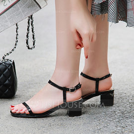 Women's Patent Leather Chunky Heel Sandals Peep Toe Slingbacks With Buckle shoes (087208925)
