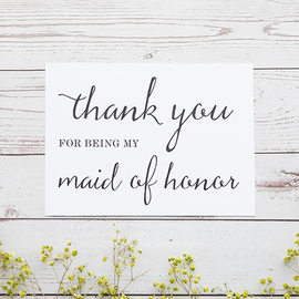 Bridesmaid Gifts - Classic Elegant Paper Wedding Day Card (256176226)