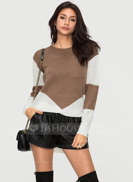Color Block Polyester Round Neck Sweater Sweaters (1002190365)