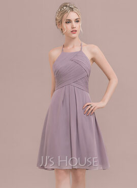 A-Line/Princess Scoop Neck Knee-Length Chiffon Bridesmaid Dress With Ruffle (007117362)