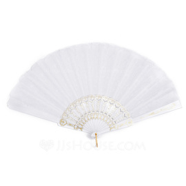 Elegant Polypropylene/Lace Hand fan (Set of 4)