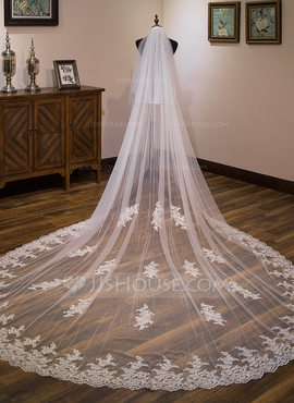 Two-tier Lace Applique Edge Cathedral Bridal Veils With Lace (006183214)