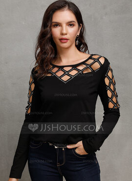 Long Sleeves Polyester Round Neck Knit Blouses (1003223853)