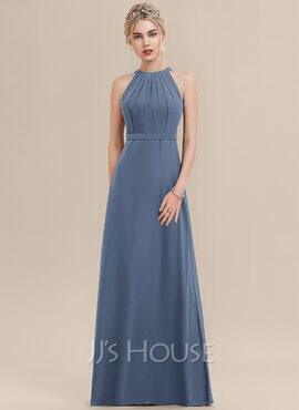 A-Line Scoop Neck Floor-Length Chiffon Bridesmaid Dress With Ruffle (007126519)