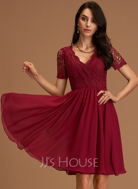 Chiffon V-Neck Short Sleeves Midi A-line Dresses (293250210)