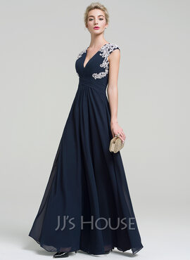 A-Line/Princess V-neck Floor-Length Chiffon Evening Dress With Appliques Lace (017093494)