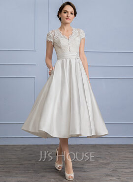 A-Line/Princess V-neck Tea-Length Satin Wedding Dress With Ruffle Pockets (002107827)