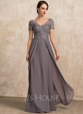 A-Line V-neck Floor-Length Chiffon Lace Evening Dress (017228606)