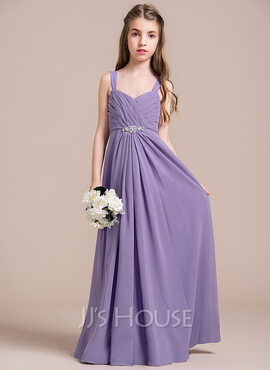 A-Line/Princess Sweetheart Floor-Length Chiffon Junior Bridesmaid Dress With Ruffle Beading (268183933)