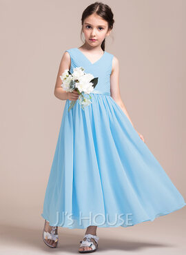 A-Line/Princess V-neck Ankle-Length Chiffon Junior Bridesmaid Dress With Ruffle (268183931)
