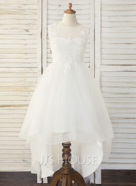 A-Line Asymmetrical Flower Girl Dress - Tulle/Lace Sleeveless Scoop Neck (010193063)