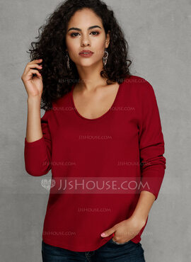 Solid Polyester round Neck Pull over Gensere (1002228712)