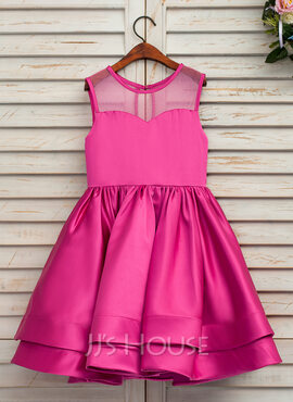 A-Line/Princess Tea-length Flower Girl Dress - Satin/Tulle Sleeveless Scoop Neck