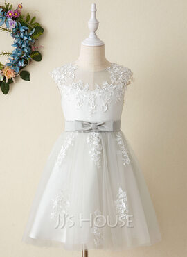 A-Line Knee-length Flower Girl Dress - Satin/Tulle Sleeveless Scoop Neck With Lace (010206298)