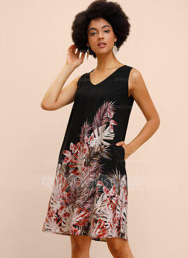 Polyester With Print Knee Length Dress (199222701)