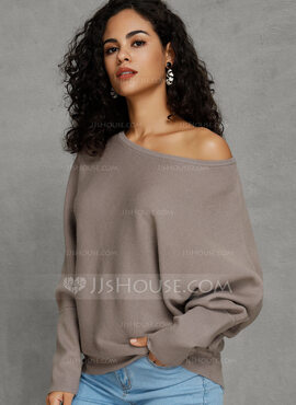 Solid Bomull Off the Shoulder Pull over Gensere (1002228700)