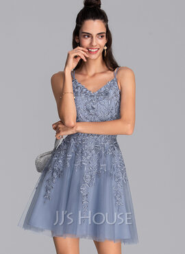A-Line V-neck Short/Mini Tulle Prom Dresses (018230671)