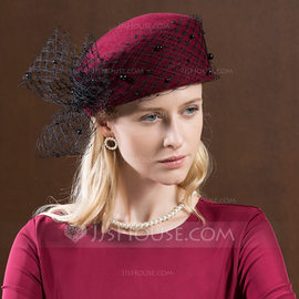 Ladies' Gorgeous/Fashion/Glamourous Wool With Tulle Beret Hats/Tea Party Hats (196179132)