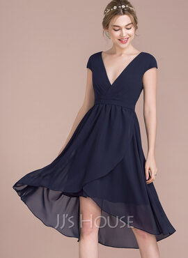 A-Line V-neck Asymmetrical Chiffon Cocktail Dress (016116507)