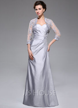 A-Line Sweetheart Floor-Length Taffeta Mother of the Bride Dress With Ruffle Beading Appliques Lace Sequins (008040828)