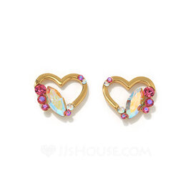 Ladies' Heart Shaped Crystal/Copper With Marquise Crystal Earrings For Her
