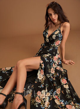 Floral Print V-Neck Sleeveless Maxi Dresses (293250213)