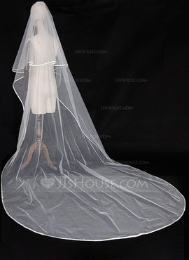 Two-tier Ribbon Edge Cathedral Bridal Veils (006189452)