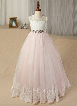 Ball Gown Floor-length Flower Girl Dress - Tulle/Lace Sleeveless Scoop Neck With Sash/Beading/V Back (Undetachable sash)