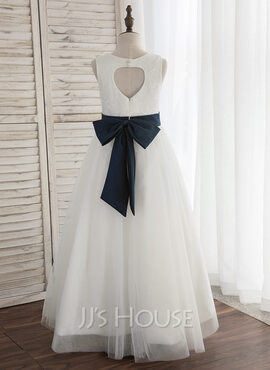 A-Line/Princess Floor-length Flower Girl Dress - Satin/Tulle Sleeveless Scoop Neck With Back Hole (Undetachable sash) (010148838)