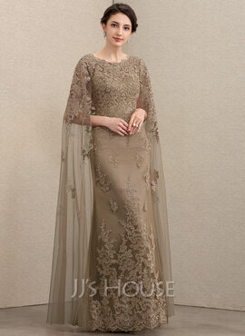 Sheath/Column Scoop Neck Floor-Length Lace Mother of the Bride Dress (008195392)