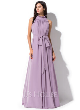 A-Line/Princess High Neck Floor-Length Chiffon Bridesmaid Dress With Bow(s) Cascading Ruffles (007055196)