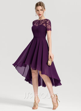A-Line Scoop Neck Asymmetrical Chiffon Homecoming Dress (022170685)